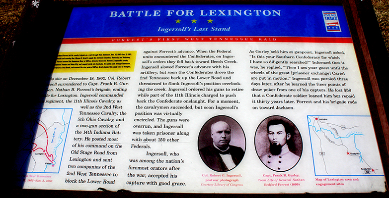The Civil War Trails Map of the Battle of Lexington is located in the Civic Center parking lot. Photo by W. Clay Crook/The Lexington Progress.