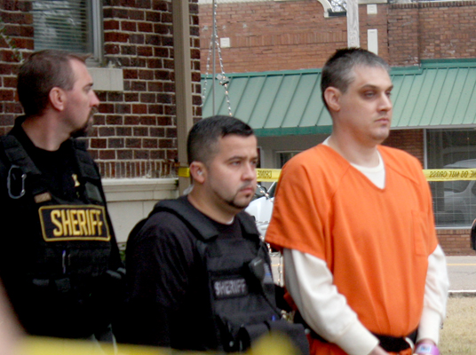 Security remained tight at the courthouse in Decaturville as the three suspects in the Holly Bobo case were escorted from the grounds. Photo by W. Clay Crook/The Lexington Progress.