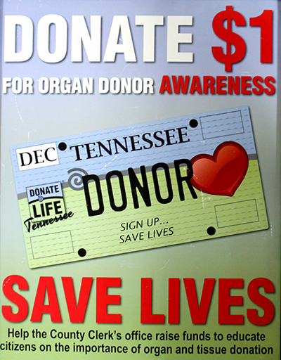 The public can donate $1.00 for Organ Donor Awareness at the County Clerks Office at the courthouse. Photo by W. Clay Crook/The Lexington Progress.