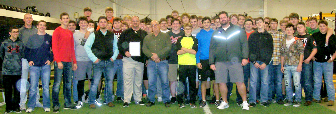 Mayor Don Buckingham presented SHHS Football Coach and team a Resolution recognizing their accomplishments for the 2016 season at the field house November 30th. Photo Submitted