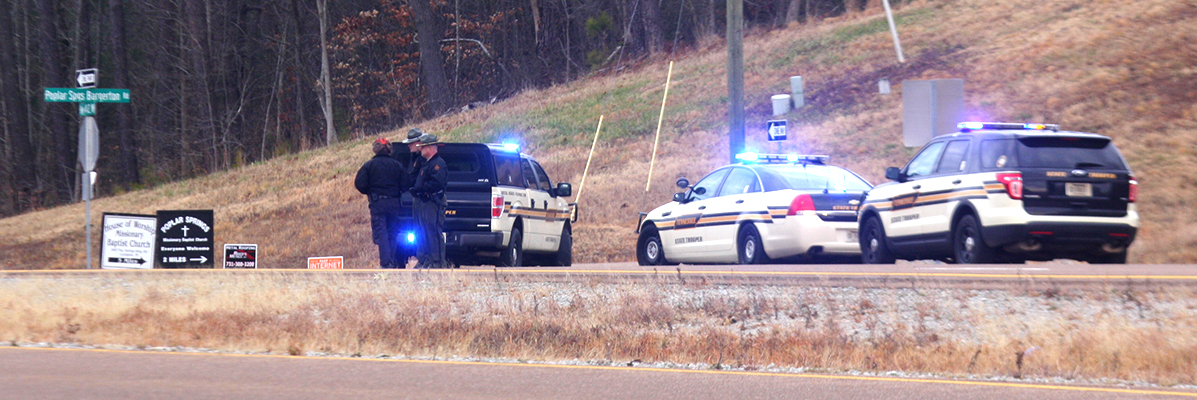 Tennessee Highway Patrol was still investigating the scene of an apparent pedestrian fatality by a motorist. Photo by W. Clay Crook/The Lexington Progress.