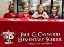 Serving as student ambassadors were: Adonnis Smith, Noah Wood, Emma Corbitt, and Macie Watkins Photo provided by Caywood Elementary.