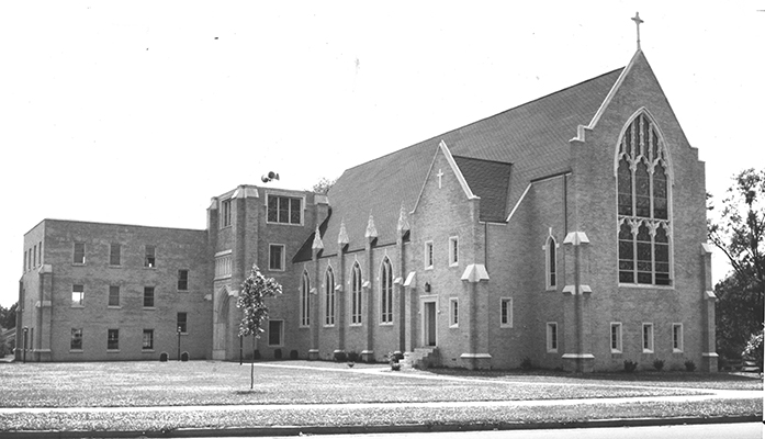 A rare photo of First Baptist Church, mid 1950's, before the bell tower was completed. Speakers are set atop the tower base, so that the 'bells' could ring. Photo provided by W. Clay Crook