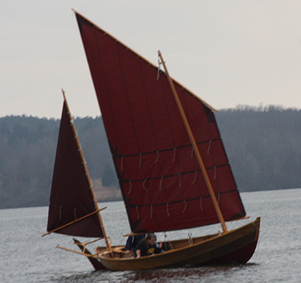 The handcrafted reproduction of a Scottish yawl from several centuries ago, glides effortlessly along Pine Lake. Photo by W. Clay Crook/The Lexington Progress.