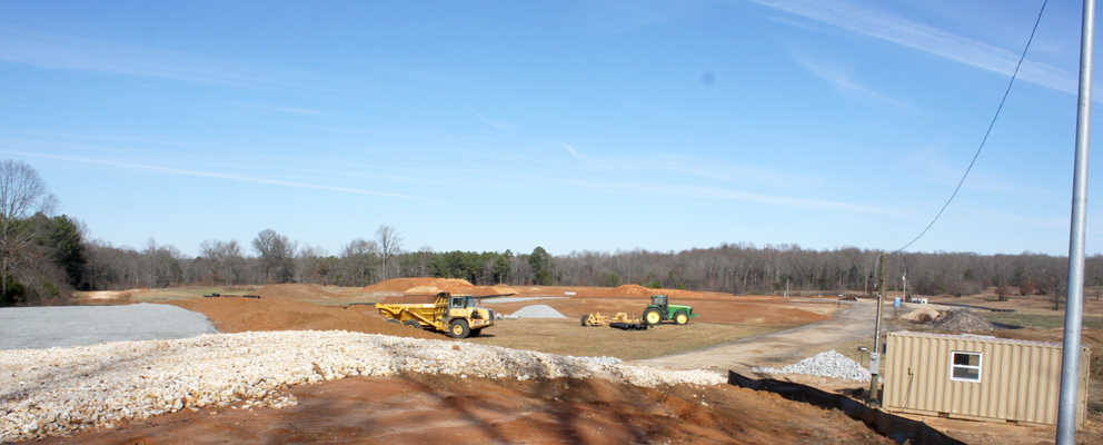 Landscaping for the Tennessee Veterans Cemetery at Parkers Crossroads continues on the monumental project. Hills are made low, and valleys are filled in with what will be a signature ground for the final chapter in the life of a veteran. The site at Parkers Crossroads will be the only such veterans' cemetery that is actually visible from a major roadway. Photo by W. Clay Crook / The Lexington Progress