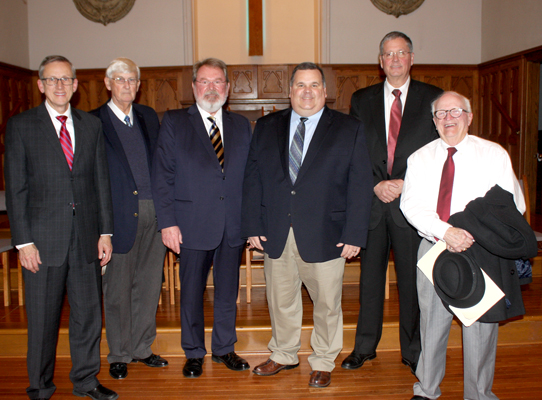 Lexington First Baptist Church celebrated its 175th Anniversary over the weekend. Pictured above are (L-R) Music Minister Bob Hull, Dr. Hoyt Wilson, Rep. Steve McDaniel, Dr. Clay Hallmark, County Mayor Dan Hughes, City of Lexington Mayor David Jowers. Photo by W. Clay Crook / The Lexington Progress