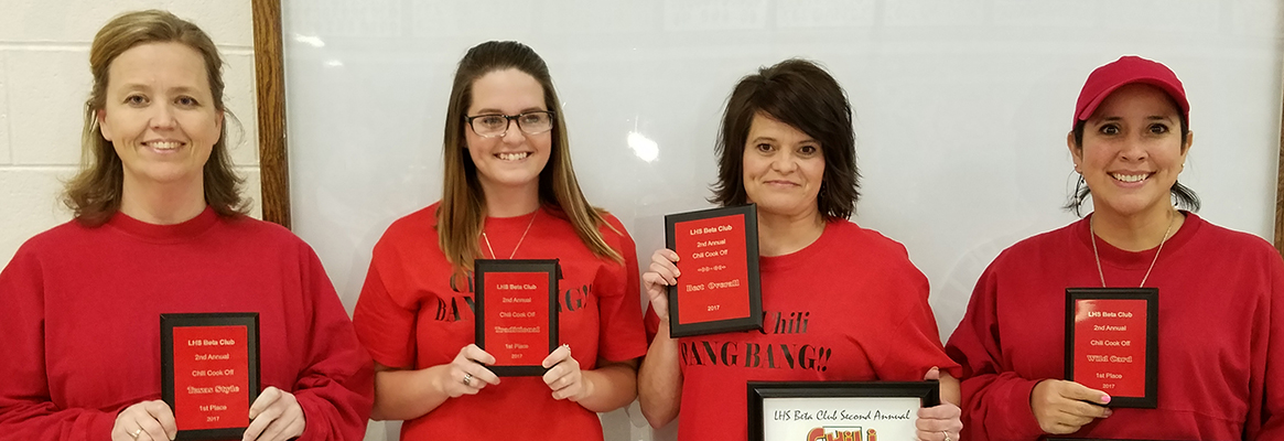 Beta Club Chili Cook Off Winners (L-R): Nicki Johnson, Abby Lankford with her mom, Wendy Hollowell, and Jaivel Snelling. Not pictured are Trish Brasher and Rita Jefferson. Photo provided by Crystal Ozier.