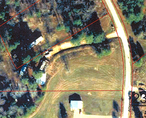 An aerial view of the Johnson Road site. From the Tennessee Property Data Assesment website.