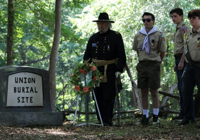 A special Memorial Day service near the Union Burial Site was held at 10:00 a.m. on Monday, May 31. 2021. Photo Submitted / The Lexington Progress