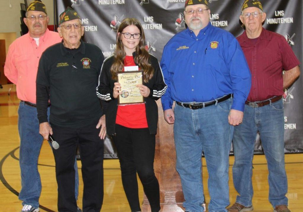 Hadley Corbitt was chosen as the winner of the VFW District 8's Patriot's Pen Award. Photo by: W. Clay Crook / The Lexington Progress