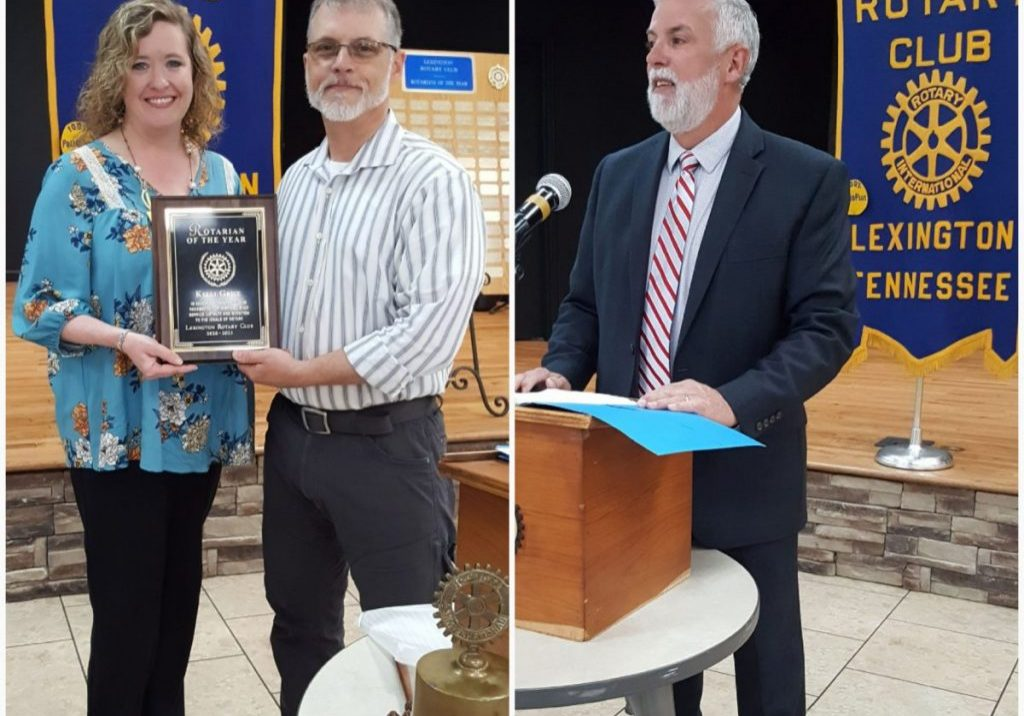 Dr. Christopher Alexander recognizes Kellie Grice as Rotarian of the Year (Left) and Lexington City Mayor Jeff Griggs (Right) was the special guest speaker for the April 13, 2021 Lexington Rotary Club meeting. Photos by: W. Clay Crook / The Lexington Progress