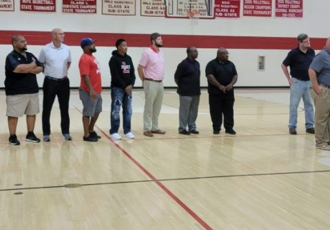 Friends and former coaches, along with family and supporters, gathered in the LHS Gymnasium on October 15, 2021 to pay tribute to a young man who touched the many lives of them all, Tyler Spann. Photo by: W. Clay Crook / The Lexington Progress