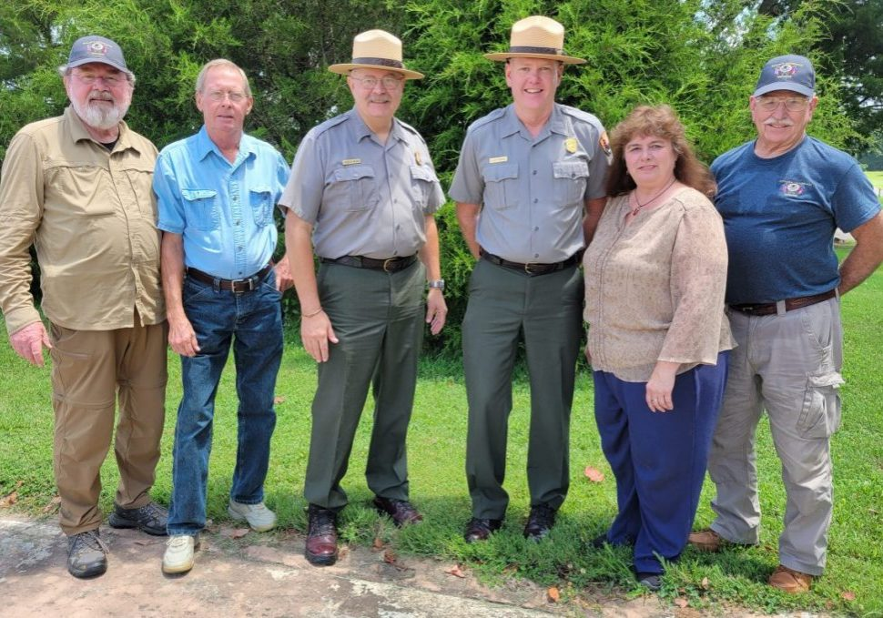 Staff from Shiloh National Military Park were hosted at a luncheon and tour at the Parkers Crossroads Battlefield on Thursday, July 15, 2021. Pictured (L-R): Steve McDaniel, Kenneth Kizer, Chief Ranger Stacy Allen, Superintendent Allen Etheridge, Kim Parker, and James Weaver. Photo by: W. Clay Crook / The Lexington Progress