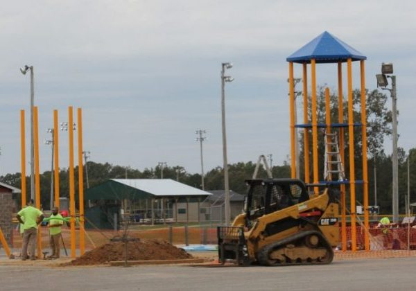 Construction of the new playground at Guy B. Amis Park is currently underway. Photo by: W. Clay Crook / The Lexington Progress