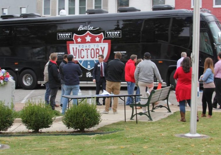 The Republican Road to Victory bus was stopped on the west end of the Henderson County Courthouse on Monday, October 26, 2020. Photo by: W. Clay Crook / The Lexington Progress