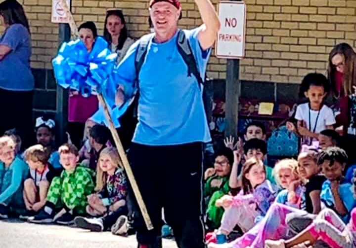 Brantley Smith is on 80-mile walking journey across Henderson County to raise money for the Carl Perkins Center. Photo Submitted / The Lexington Progress