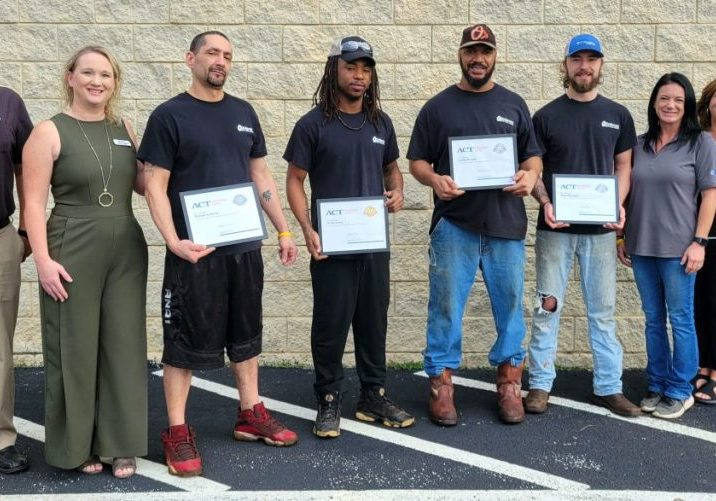 Career Readiness Certificates were presented to four Dewayne's Metal Coatings employees on Tuesday, September 21, 2021. Pictured (L-R) were: Stewart Stanfill, Director of Adult Education; Melissa Gilbert, Executive Director of the Chamber of Commerce; Thomas Gutierrez: Phillip Bailey: Joshua Donald; Brien Reynolds; Jennifer Christenson, with Human Resources at Dewayne's Metal Coatings; Sandy Stanfill, Director of the Henderson County-Lexington Center JSCC; and Charlotte Perry with the Henderson County Criminal Justice Center. Photo by: W. Clay Crook / The Lexington Progress