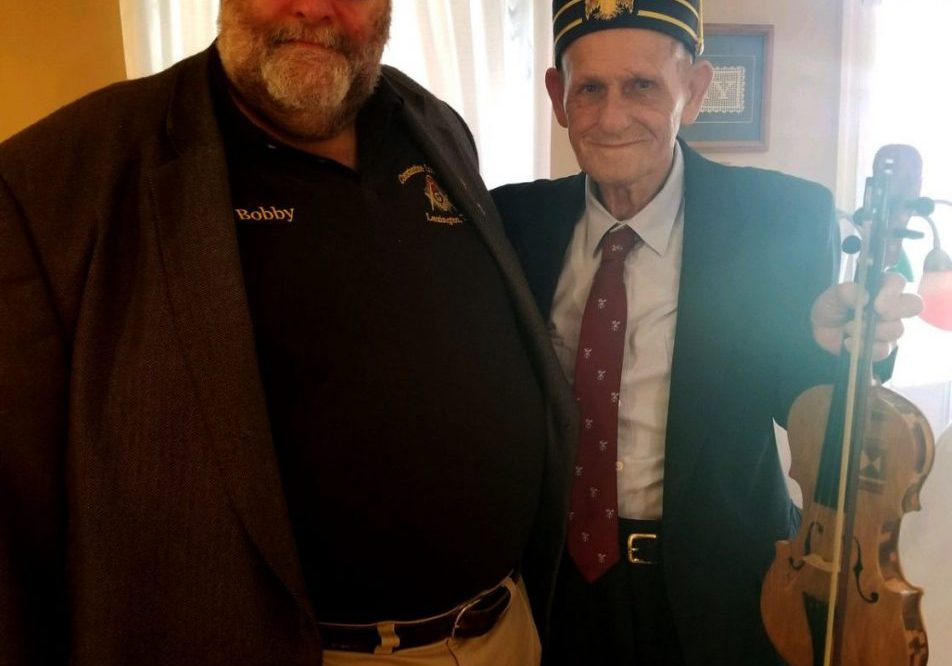 Secretary Bobby Blankenship is pictured with D. Loyel Gray who received his 50-year certificate and pin from the Constantine Lodge #64, F&AM. Photo Submitted / The Lexington Progress