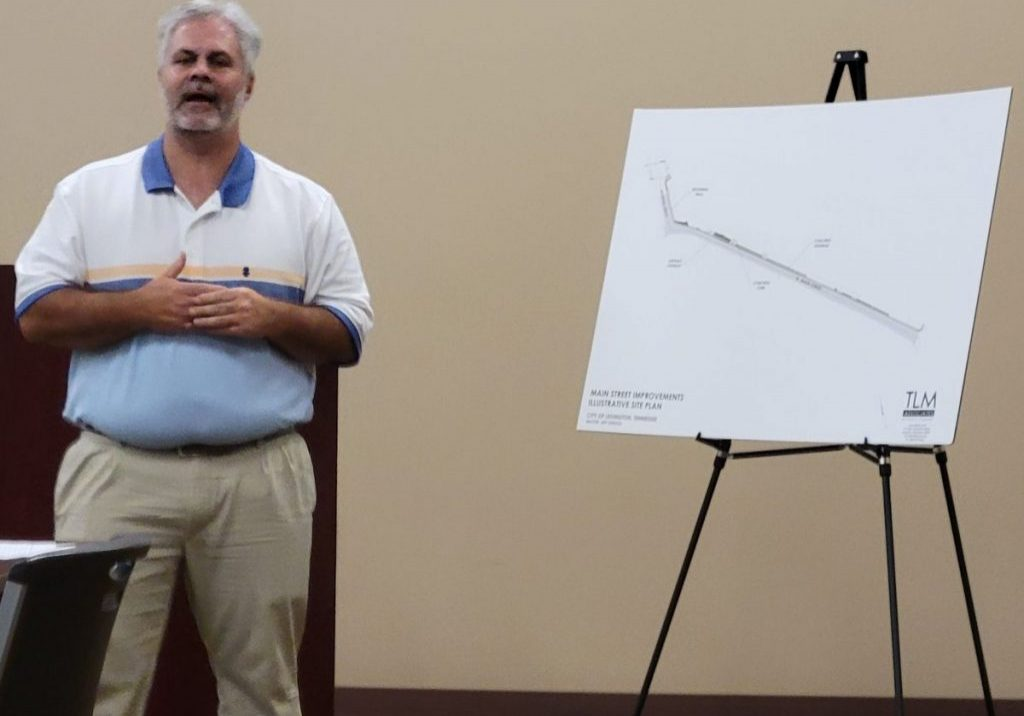 Mr. Robert J. Safin, with TLM Associates, made a presentation on the Lexington Main Street Pedestrian Improvements Project at a public meeting on September 20, 2021. Photo by: W. Clay Crook / The Lexington Progress