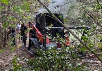 A skid steer caught fire in the 400 block of Mills Darden Road on October 13, 2021. Photo Submitted / The Lexington Progress
