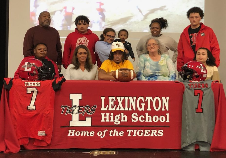Cameron James, recently a Lexington High School Football member, signed his Letter of Intent to play football with William Penn University on Friday, February 26, 2021. Photo by: Blake Franklin / The Lexington Progress