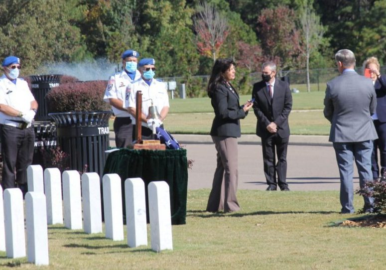 Commissioner of the Tennessee Department of Veterans Services, Courtney Rogers, was on hand at the Tennessee State Veterans Cemetery - Parkers Crossroads on Tuesday, October 13, 2020 for an unclaimed veteran. Photo by: W. Clay Crook / The Lexington Progress